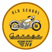 Circular 'Old School Garage' Sign