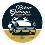 Round 'Retro Garage' Sign